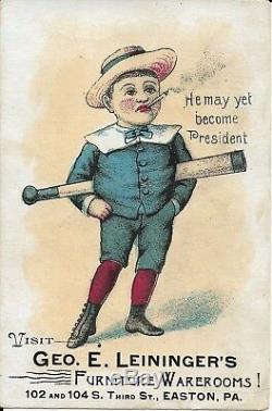 1800s victorian vintage trade advertising card baseball bat furniture