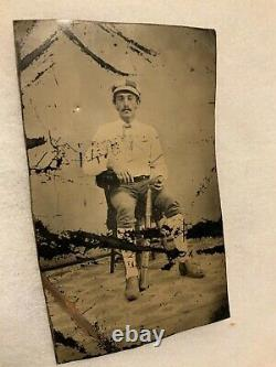 1870 1880 RARE Tin Type of Baseball Player with BAT & BALL