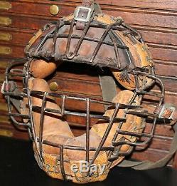 1920s Vintage DRAPER & MAYNARD Baseball CATCHER's MASK w VISOR not glove bat