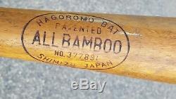 1940s Vintage Japanese Hagoromo Bamboo Professional Baseball Bat Shimizu Japan