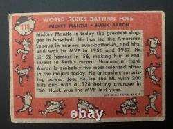 1958 Topps Mickey Mantle / Hank Aaron BATTING FOES Vintage #418 See remarks