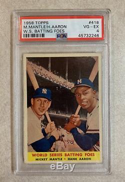 1958 Topps Mickey Mantle Hank Aaron Batting Foes #418 Psa 4 Vg Ex Vintage