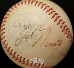 1970s JOE DiMAGGIO JOE NAMATH Signed GAME Ball OTTO GRAHAM vtg Baseball Football