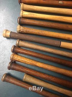 20 VINTAGE MINI BASEBALL BATS SOUVENIR MINIATURE RUTH WANER DICKEY With Rack