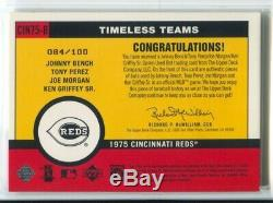 2001 Bench Perez Morgan Upper Deck Vintage TIMELESS TEAMS BAT 84/100 Reds NRMT