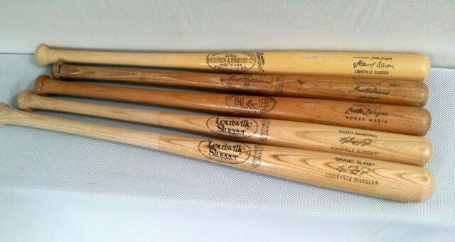 (5) Vintage Youth Baseball Bats Hank Aaron Ted Williams Roger Maris Griffey Jr
