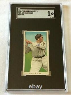 Admiral Schlei Batting 1911 T206 Piedmont Cigarettes Vintage Tobacco Card Sgc 1