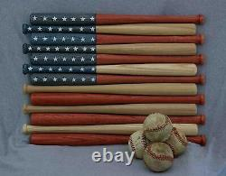 American flag made out of 18 inch baseball bats. Rustic / aged / vintage