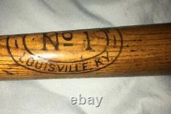 Antique HILTON COLLINS Number No 1 Model BASEBALL BAT Louisville KY Vintage RARE