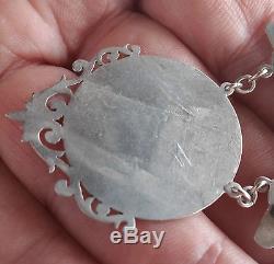 BASEBALL antique engraving sterling silver pendant vtg award medal sports bat
