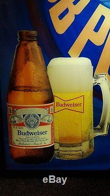 Budweiser Beer Vtg Lighted Bar Sign Chicago Cubs MLB Baseball Player Bat Ball