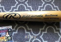 Eddie Mathews Hof Signed Vintage Auto Baseball Bat Atlanta Braves Mlb Jsa Coa