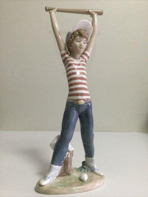 Gorgeous Vintage Retired Lladro Baseball Player With Bat #5289 (12.5 Tall)