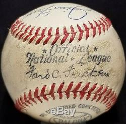 HARRY CARAY & RYNE SANDBERG Signed ONL FRICK Baseball CHICAGO CUBS TEAM vtg HOF