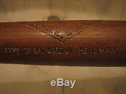Harry Heilmann Vintage Zinn Beck Game Used Bat Tigers