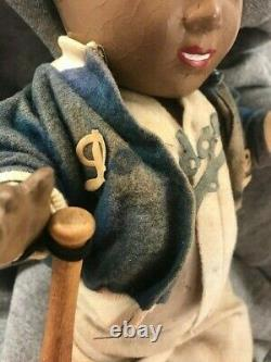 Jackie Robinson vintage original 1950 Allied-Grand Mfg. Doll with bat and tag RARE