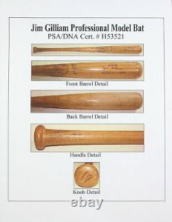 Jim Gilliam K55 Game Used Vintage Los Angeles Dodgers Louisville Bat Psa Dna Loa