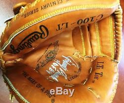 Johnny Bench Signed Vintage Cincinnati Reds Rawlings Baseball Glove Mitt COA bat