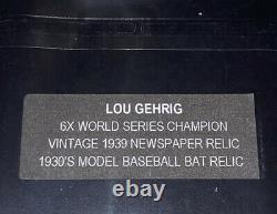 LOU GEHRIG 2021 SUPER BREAK THE BAR VINTAGE NEWSPAPER 1930s Bat & Stamp RELIC