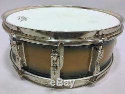 LUDWIG 60s Vtg Nickel PIONEER Snare Drum Black Gold Baseball Bat Muffler P83