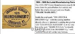Louisville Slugger Rare Vintage Hillerich & Bradsby Lou Gehrig Baseball Bat WOW