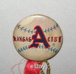 Nice Old Vtg 1955-1968 Kansas City As Baseball Team Pinback Button With Bat Ball