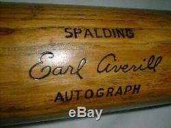 Old Vintage EARL AVERILL 35.5 Baseball Bat Antique Spalding Resilite No. 120