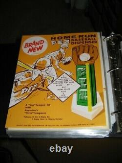 PEZ ad sheet 1964 vintage baseball glove home plate bat display candy salesman