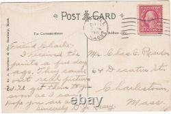 RARE VINTAGE 1918 RED SOX Team Warming Up Postcard with pos. BABE RUTH at Bat