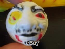RARE VINTAGE YELLOW MONSTER BASEBALL BAT Zombie Face + Ball madballs 80s toy