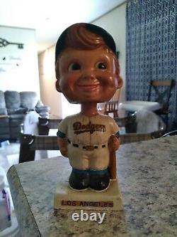 RARE Vintage 1960s LA Dodgers Bobblehead with baseball bat. Square base