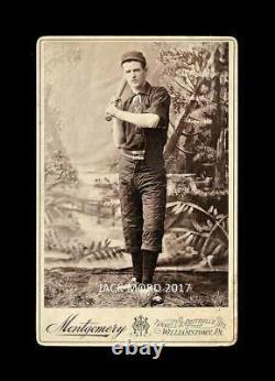 Rare 1800s Antique Photo Pennsylvania Baseball Player Swinging Bat VTG Sports