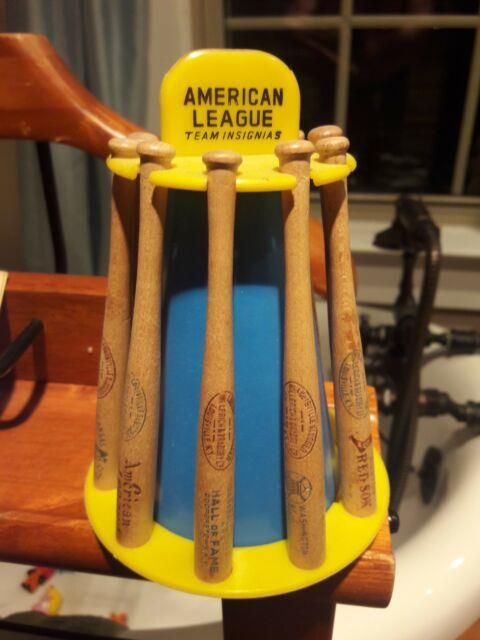 Rare Vintage1956american League Baseball Wood Bat Rack Bank8old Wooden Mini Bats