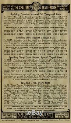 Spalding Junior League vintage baseball bat Model 25B (circa 1908-1916)
