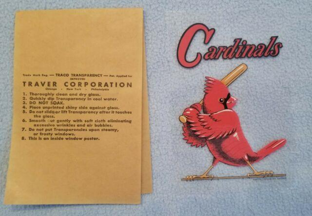 Unused Rare Vintage 1950s St Louis Cardinals Window Decal Sticker Bat Bird Glass