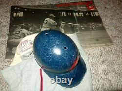 VINTAGE 1960s CLEVELAND INDIANS ABC FIBERGLASS GAME BATTING HELMET USED BASEBALL