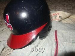 VINTAGE 1990s GAME USED CLEVELAND INDIANS RAWLING'S BASEBALL BATTING HELMET ABC