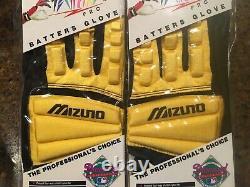 VTG MLB Diamond Mizuno TechFIRE PRO Batters Glove Set Adult XL Yellow Scorpion