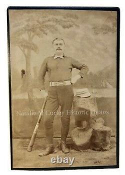 Vintage 1880s Baseball Player Uniform Striped Bat Studio Cabinet Photo