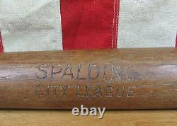 Vintage 1900s Spalding Wood'City League' Baseball Bat 34 Antique Great Display