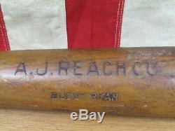 Vintage 1910s AJ Reach Co. Wood Baseball Bat Buddy Ryan Model 33 Rare! Antique