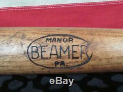 Vintage 1910s Beamer Handle Co. Wood Baseball Bat Manor, PA 34 Antique Railroad