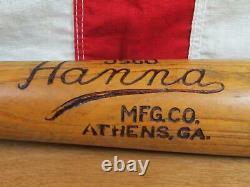 Vintage 1930s Hanna Mfg Co. Wood Baseball Bat J560 Model Athens, GA 33 Antique