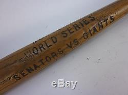 Vintage 1933 Souvenir World Series Senators VS Giants Miniature Bat
