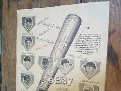Vintage 1950s Louisville Slugger Bats Mantle Jackie Robinson Baseball Poster