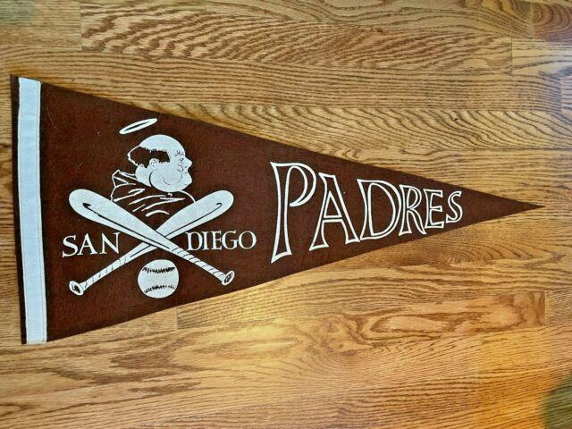 Vintage 1969 San Diego Padres Brown Friar Pennant With Crossed Baseball Bats Rare