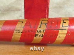 Vintage 50s Hanna Batrite Wood Striped Baseball Bat Ed Mathews On Deck Weighted