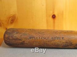 Vintage Adirondack Wood Baseball Bat Williams Style 35 McLaughlin Millard inc