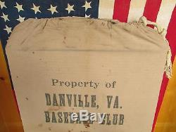 Vintage Antique Danville, VA. Baseball Club Equipment Gear Bag Virginia Bats/Balls
