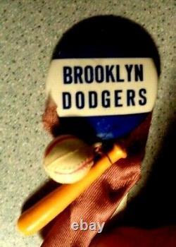 Vintage BROOKLYN DODGERS PIN PINBACK with BAT & BASEBALL & RIBBON ATTACHED
